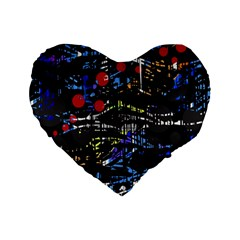 Blue confusion Standard 16  Premium Flano Heart Shape Cushions by Valentinaart