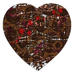 Brown Confusion Jigsaw Puzzle (heart) by Valentinaart