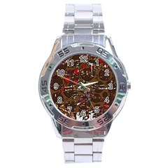 Brown Confusion Stainless Steel Analogue Watch by Valentinaart