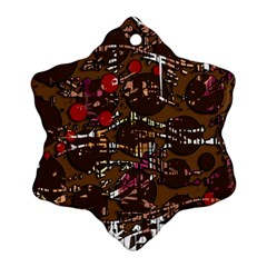 Brown confusion Snowflake Ornament (2-Side) by Valentinaart