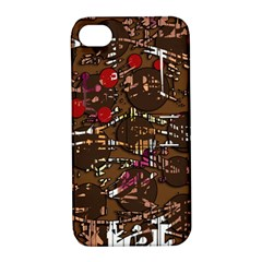 Brown Confusion Apple Iphone 4/4s Hardshell Case With Stand by Valentinaart