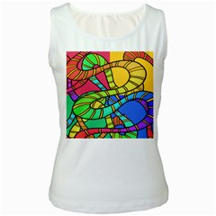 Abstrak Women s White Tank Top