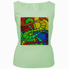 Abstrak Women s Green Tank Top