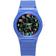 Graffiti Style Design Round Plastic Sport Watch (s) by Valentinaart