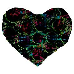 Graffiti Style Design Large 19  Premium Flano Heart Shape Cushions by Valentinaart