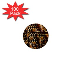Bees On A Comb 1  Mini Buttons (100 pack)  by AnjaniArt