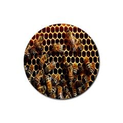 Bees On A Comb Rubber Round Coaster (4 Pack)