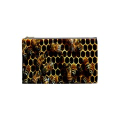 Bees On A Comb Cosmetic Bag (small)  by AnjaniArt