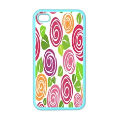 Blue Rose Apple Iphone 4 Case (color) by AnjaniArt