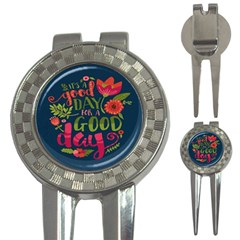 C mon Get Happy With A Bright Floral Themed Print 3 In 1 Golf Divots by AnjaniArt