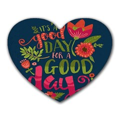 C mon Get Happy With A Bright Floral Themed Print Heart Mousepads by AnjaniArt