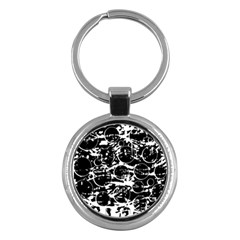 Black And White Confusion Key Chains (round)  by Valentinaart