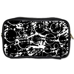 Black And White Confusion Toiletries Bags 2 Side by Valentinaart
