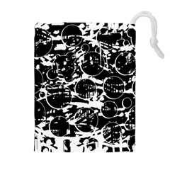 Black And White Confusion Drawstring Pouches (extra Large) by Valentinaart