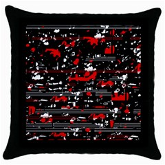 Red Symphony Throw Pillow Case (black) by Valentinaart