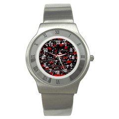 Red Symphony Stainless Steel Watch by Valentinaart