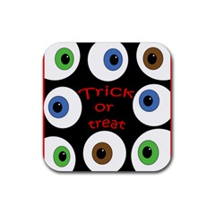Trick Or Treat  Rubber Square Coaster (4 Pack)  by Valentinaart