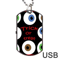 Trick Or Treat  Dog Tag Usb Flash (one Side) by Valentinaart