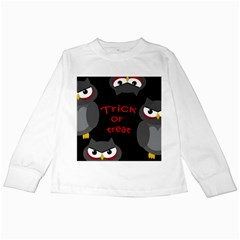 Trick Or Treat   Owls Kids Long Sleeve T Shirts by Valentinaart