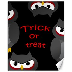 Trick Or Treat   Owls Canvas 11  X 14   by Valentinaart