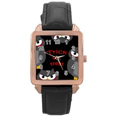 Trick Or Treat   Owls Rose Gold Leather Watch  by Valentinaart