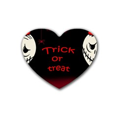 Trick Or Treat 2 Rubber Coaster (heart)  by Valentinaart