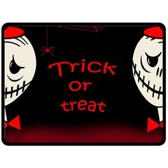 Trick or treat 2 Double Sided Fleece Blanket (Large)  by Valentinaart