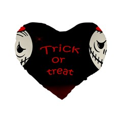Trick Or Treat 2 Standard 16  Premium Flano Heart Shape Cushions by Valentinaart