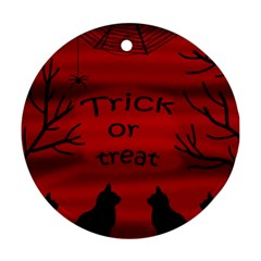 Trick Or Treat   Black Cat Ornament (round)  by Valentinaart