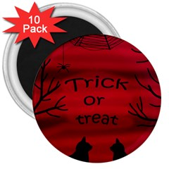 Trick Or Treat   Black Cat 3  Magnets (10 Pack)  by Valentinaart