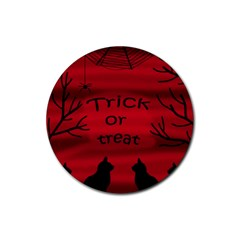 Trick Or Treat   Black Cat Rubber Round Coaster (4 Pack)