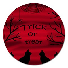 Trick Or Treat   Black Cat Magnet 5  (round) by Valentinaart