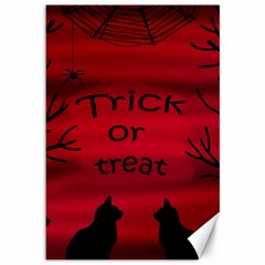 Trick Or Treat   Black Cat Canvas 12  X 18   by Valentinaart