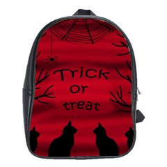 Trick Or Treat   Black Cat School Bags(large)  by Valentinaart