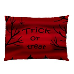Trick Or Treat   Black Cat Pillow Case (two Sides) by Valentinaart