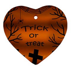 Trick Or Treat   Cemetery  Ornament (heart)  by Valentinaart