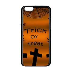 Trick Or Treat   Cemetery  Apple Iphone 6/6s Black Enamel Case by Valentinaart