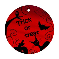 Trick Or Treat   Halloween Landscape Round Ornament (two Sides)  by Valentinaart