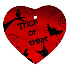 Trick Or Treat   Halloween Landscape Heart Ornament (2 Sides) by Valentinaart