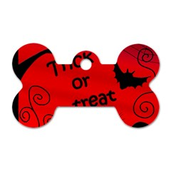 Trick Or Treat   Halloween Landscape Dog Tag Bone (one Side) by Valentinaart