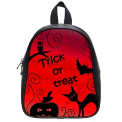 Trick Or Treat   Halloween Landscape School Bags (small)  by Valentinaart