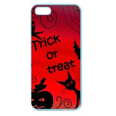 Trick Or Treat   Halloween Landscape Apple Seamless Iphone 5 Case (color) by Valentinaart