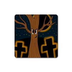 Halloween   Cemetery Evil Tree Square Magnet by Valentinaart