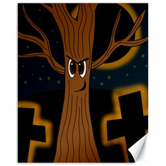 Halloween   Cemetery Evil Tree Canvas 16  X 20   by Valentinaart