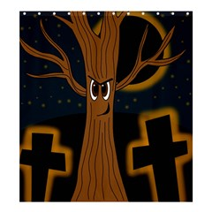 Halloween   Cemetery Evil Tree Shower Curtain 66  X 72  (large)  by Valentinaart