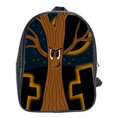 Halloween   Cemetery Evil Tree School Bags(large)  by Valentinaart