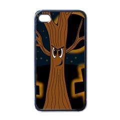 Halloween   Cemetery Evil Tree Apple Iphone 4 Case (black) by Valentinaart
