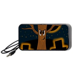 Halloween - Cemetery evil tree Portable Speaker (Black)  by Valentinaart