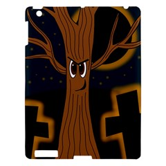 Halloween   Cemetery Evil Tree Apple Ipad 3/4 Hardshell Case by Valentinaart