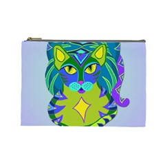 Peacock Tabby Cosmetic Bag (large)  by jbyrdyoga